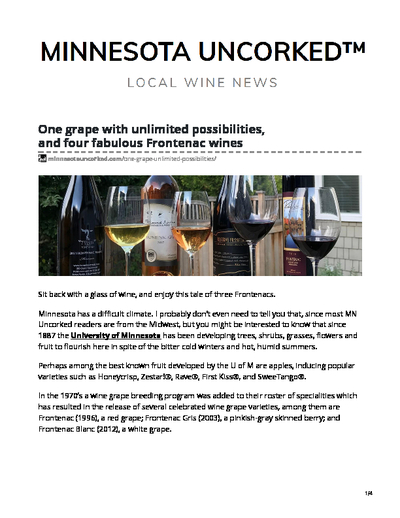 One grape with unlimited possibilities, and four fabulous Frontenac wines